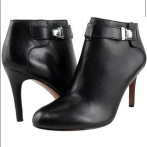 Coach Sondra Black Leather Booties Silver Buckle